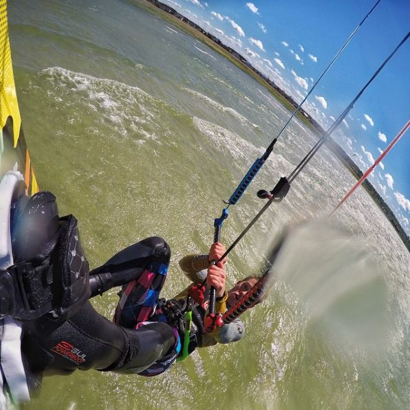 GoPro sticky mount on a kiteboard