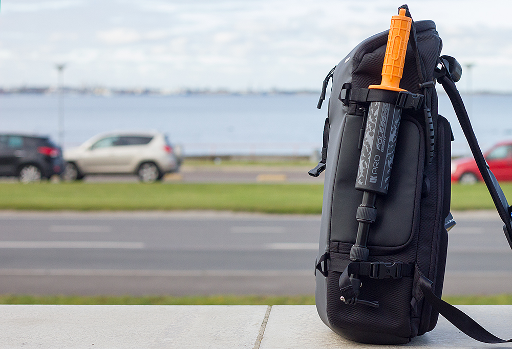 UKPro POLE 38HDF on a backpack