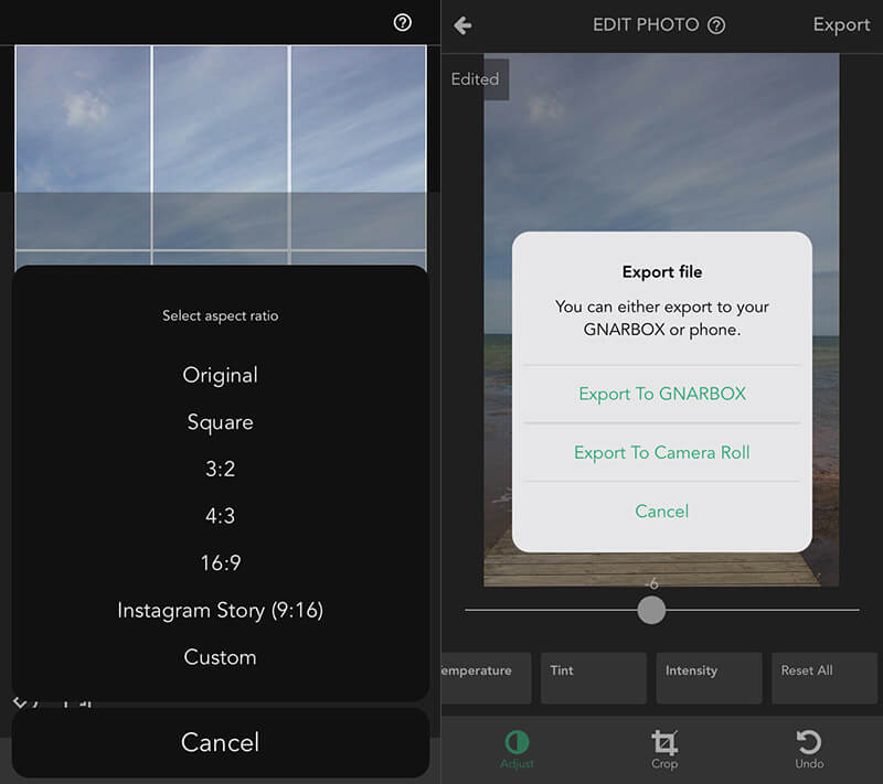 Gnarbox App - Crop and Export